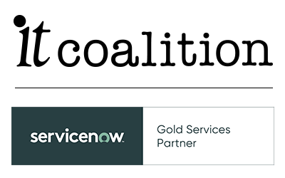 IT Coalition logo, ServiceNow Gold Partners logo